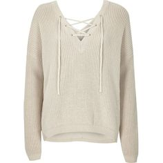 River Island Cream knitted lace-up slouchy jumper (29 CAD) ❤ liked on Polyvore featuring tops, sweaters, shirts, jumper, sweatshirt, sale, long sleeve shirts, deep v neck shirt, lace up shirt and long-sleeve shirt