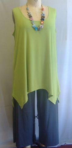 Lagenlook Patterns | Coco and Juan Lagenlook Plus Size Kiwi Green Rayon Traveler Knit ...