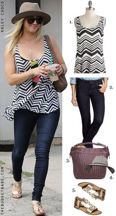 Kaley Cuoco's chevron tank look for less #dressbynumber