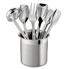 All-Clad Stainless Steel Six-Piece Cook Serve Tool Set.The set includes a highly polished stainless steel fork, ladle, solid spoon, slotted spoon and tongs, all thoughtfully sized for serving food as well as cooking, and placed in a brushed stainless steel canister.
