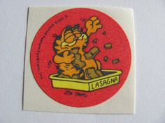 Vintage Garfield Lasagna Matte Scratch and Sniff Sticker - 1978 70's Unique Retro Gift - Collectable Scented Trend Cartoon Comic