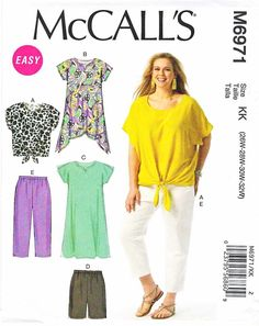 McCalls Sewing Pattern 6971 Womens Plus Size 18W-24W Easy Wardrobe Top Skirt Pants Shorts Shirt  --  Need a different size or pattern? Check out our store www.MoonwishesSewingandCrafts.com for 8000+ uncut sewing patterns all sizes and styles!