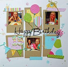 Happy birthday scrapbook page :) Birthday Scrapbook Layouts, Scrapbook Layout Sketches, Scrapbook Designs, Baby Scrapbook, Scrapbook Paper Crafts, Scrapbook Cards, Baseball Scrapbook, Scrapbook Photos, Kids Scrapbook Ideas