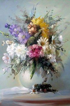 Jarron con flores de muchos coloresss