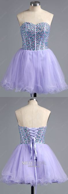 Lavender Homecoming Dresses Short, A Line Homecoming Dresses Sweetheart, Tulle Homecoming Dresses Beading, Crystal Homecoming Dresses For Teens