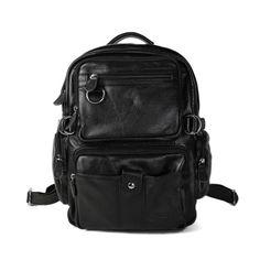ROCKCOW 100% Excellent Genuine Leather Black Backpacks Laptop Cases 1016 - ROCKCOWLEATHERSTUDIO