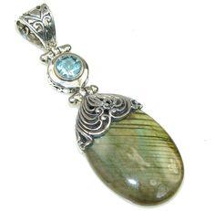 $72.15 Big! Bali Secret! AAA Blue Labradorite & Swiss Blue Topaz Sterling Silver Pendant at www.SilverRushStyle.com #pendant #handmade #jewelry #silver #labradorite