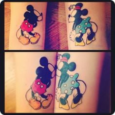 Mickey Mouse + Minnie Mouse (I don't condone cartoon tattoos but this one is pretty stinking cute :) )