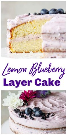 A stunning and delicious Lemon Layer Cake with Blueberry Cream Cheese Frosting! Tender and luscious it's perfect for a birthday or brunch table. Both the layers and the frosting can be frozen! Lemon Dessert Recipes, Cheesecake Recipes, Cupcake Recipes, Healthy Desserts, Baking Recipes, Sweet Recipes, Delicious Desserts, Cupcake Cakes, Cupcakes
