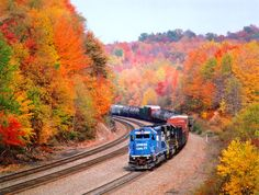 Conrail train moving through Pennsylvania fall colors.