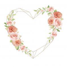 Beautiful heart frame with floral garden roses Premium Vector Framed Wallpaper, Flower Background Wallpaper, Frame Background, Flower Backgrounds, Frame Floral, Flower Frame, Wreath Watercolor, Watercolor Flowers, Molduras Vintage