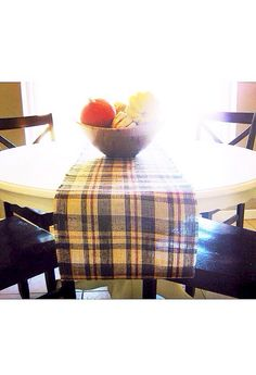 """LOVE, burlap ♥ Gorgeous Thanksgiving brown plaid burlap table runner. Table runner has homestyle and finished edges. It is sewn along sides to ensure durability and longevity. Hand wash or gentle cycle. 14"""" wide X 8' long, other sizes available! Monogram Option is $8 extra. ♥ https://www.etsy.com/shop/loveburlap"""