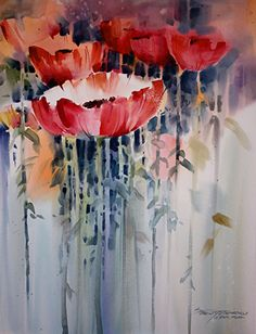 - Loose and Lively Landscapes with a Palette Knife - Art 4 Flowers & Plants - Watercolor Poppies, Abstract Watercolor, Watercolour Painting, Watercolors, Art Floral, Art Aquarelle, Abstract Flowers, Flower Art, Art Flowers