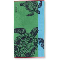 L.L.Bean Seaside Beach Towel, Turtles ($30) ❤ liked on Polyvore featuring home, bed & bath, bath, beach towels and monogrammed beach towels