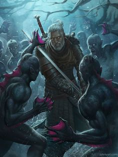 Finally finished The Witcher I played on the highest difficulty so I had more trouble with that first drowner pack on the beach than the final boss. Geralt of Rivia Fantasy Characters, Witcher Art, Character Design, Character Art, Fantasy Art, The Witcher, Geralt Of Rivia, Art, Dark Fantasy Art
