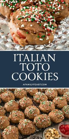 Italian Toto Cookies are spicy, chocolate and orange flavore. - Italian Toto Cookies are spicy, chocolate and orange flavored cookies – full of walnuts, chocolate chips and cherries – with a chocolate orange frosting. Italian Christmas Cookie Recipes, Italian Cookie Recipes, Sicilian Recipes, Italian Cookies, Italian Desserts, Holiday Recipes, Italian Foods, Pastry Recipes, Cooking Recipes