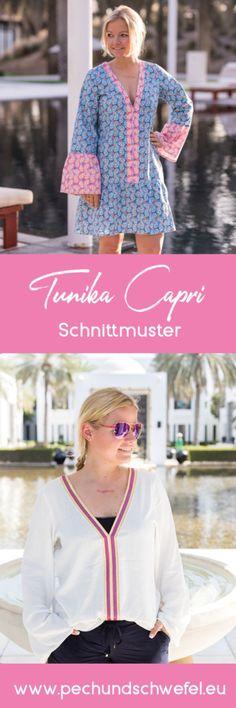 Schnittmuster Tunika und Kleid Capri für Damen, Gr 34 bis 52, als A0 und A4 jeweils als Einzelgrößenschnitt und Mehrgrößenschnitt