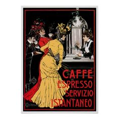 #custom #coffee themed  #gifts #print #redwingshoppe -  Caffe Espresso Vintage…