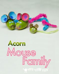 ADORABLE ACORN MICE  Squeak! Kids will love making a little acorn mouse pocket pal, what a fun Fall craft project