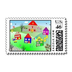 Cute Kids Little Village Picture US Postal Stamps