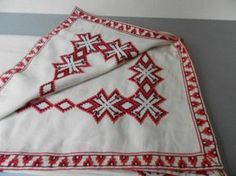 Vintage Bulgarian Hand Embroidered Tablecloth Linen /