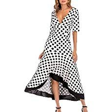 Elegant Polka Dot Dress Ruffles Half Sleeve V Neck Women Summer Dresses 2018 Prom Party Dress Robe Plus Size Boho Sundress Polka Dot Maxi Dresses, Dot Dress, Sexy Maxi Dress, V Neck Dress, Dresses Short, Casual Dresses, Sweater Dresses, Style Bleu, Workout Clothes Cheap