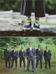 Put the groom and his men in argyle socks with vans #groom #yellow #gray http://www.weddingchicks.com/2014/01/17/gray-and-yellow-wedding-2/