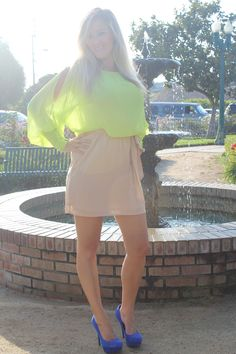 Slit Sleeves and Neon - #fashion, #style, #dress, #bright