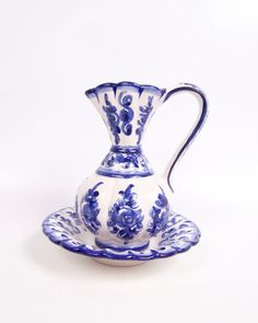 Vintage Portugal Cobalt Blue Pitcher Bowl