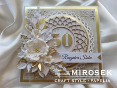 Kartka - 50 rocznica ślubu | CRAFT STYLE - blog Flower Tattoos, Design Crafts, Flower Art, Flower Arrangements, Birthday Cards, Beautiful Pictures, Presents, Frame, Flowers
