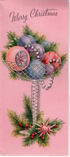 Pink Ornaments Garland Silvered Glitter MCM Sputnik VTG Christmas Greeting Card | eBay