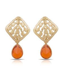 Buy Luxor Royal Orange Designer Earrings Mother's Day Gift for Women ER-1283 danglers-drop online