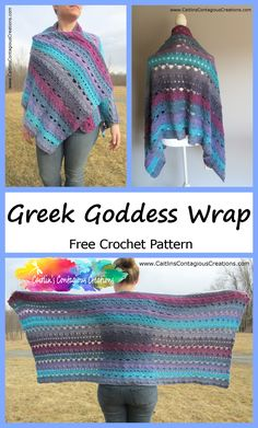Greek Goddess Wrap Crochet Pattern Easy Greek Goddess Shawl Crochet Pattern from Caitlin's Contagious Creations. A free crochet design for a rectangle prayer wrap includes written directions and step by step photos. Pull Crochet, Crochet Wrap Pattern, Knit Crochet, Crochet Patterns, Poncho Patterns, Crochet Vests, Crochet Cape, Crochet Shirt, Crochet Motif