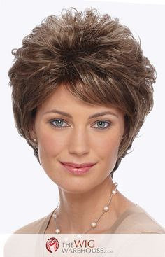 Katie by Estetica Designs offers a short layered style that adds volume and depth, with soft wispy curls that add a definite bit of charm. The short-length Katie is all at once sassy, sophisticated, a