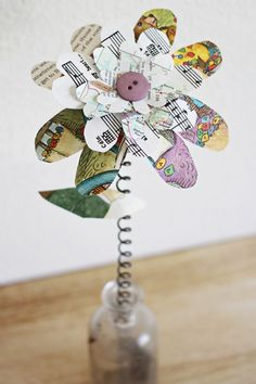 Recycled paper flower branch from wise craft by blair stocker children book paper flowers mightylinksfo