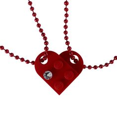 Idée et inspiration Bijoux : Image Description Red 2 piece customizable heart made from 2 LEGO® plates with a Diamond color SWAROVSKI® crystal on 2 Red ballchains – Best Friends Bff Necklaces, Artisanal, Colored Diamonds, Heart Shapes, Swarovski Crystals, Lego, Creations, Fashion Accessories, My Etsy Shop