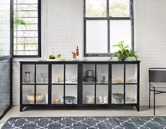 Camila Industrial Black Iron Sideboard with Glass Doors Glass Sideboard, Modern Sideboard, Glass Cabinet Doors, Glass Shelves, Buffet Cabinet, Kitchen Sideboard, Curio Cabinets, Display Cabinets, China Cabinets