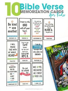 10 Bible Verse Memorization Cards for Kids is part of Kids Crafts Bible Memory Verse Establish a firm foundation for your kids with scripture memorization Print these free printable 10 Bible Verse - Bible Verses For Kids, Bible Study For Kids, Verses For Cards, Bible Lessons For Kids, Scripture Cards, Kids Memory Verses, Preschool Bible Verses, Printable Scripture, Printable Cards