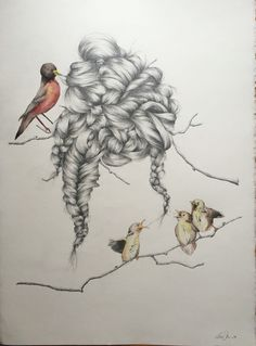 Nesting, 22x30, graphite and watercolor on paper by Lauren Munns #drawing #art #hair #braid #watercolor #birds