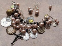 When I was Marys Prayer Antique Rosary Bracelet Mauve by angels9, $52.00