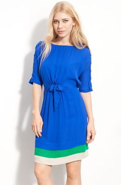 Adorable Colorblock dress, even buttons on the sleeves and a bow just for me!