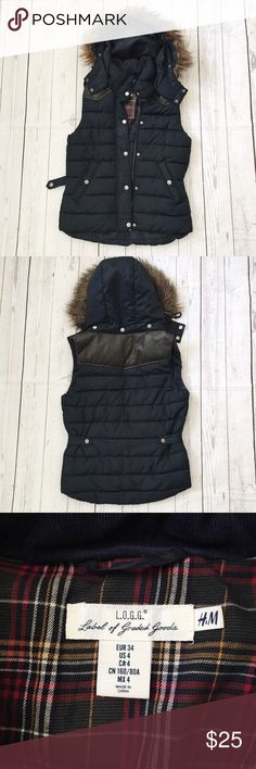 Women's Padded Vest Women's padded vest with detachable fur hood. In perfect condition. Worn one time. Warm, Navy blue with vegan leather yoke. Size 4, but fits like a 2. Made by H and M. Looks expensive ☺️❤️ tagged north face for exposure. The North Face Jackets & Coats Vests
