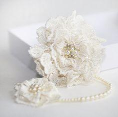 Bridal Lace Pearl Hair Clip Wedding Headpiece by JerseyBride