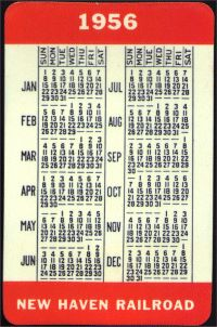 The year 1956 back side of the pocket calendar for the New Haven Railroad