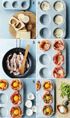 Her får du et helt morgenmåltid med brød, æg og bacon i mini-udgave – perfekt til brunch!