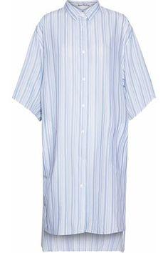 ACNE STUDIOS WOMAN STRIPED COTTON-POPLIN SHIRT DRESS LIGHT BLUE. #acnestudios #cloth #