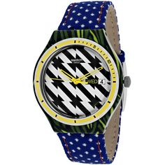 Swatch Women's Tiger Babs Quartz Blue Band Black and white Dial