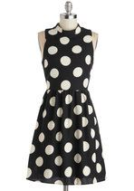 Spotted Downtown Dress | Mod Retro Vintage Dresses | ModCloth.com. White polka dots on the perfect black dress!! I'm dying over here. Love love love! @ModCloth