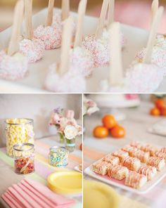 Pastel art party - paint can name banner, clear paint cans for serving, artist palette cookies, kraft paper tablecloth