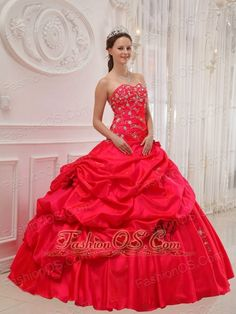 Beautiful Red Quinceanera Dress Sweetheart Taffeta Appliques Ball Gown  http://www.fashionos.com  The shape of the skirt resembles the hoop-style ones worn in the antebellum south while the ruched ruffled tier is more modern. The skirt is embellished with beaded appliques that complement the beadwork in the bodice perfectly. The lace up back and the flowers decorated on the skirt finish the look.